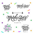 mardi gras lettering set vector image