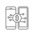 mobile transfer exchange bitcoin thin line symbol vector image vector image