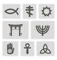 monochrome icons with symbols of religion vector image vector image