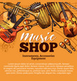 music shop sketch of musical instruments vector image vector image