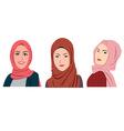Muslim Girls Avatars Set Asian Traditional Hijab vector image