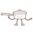 pan with handle and lid cartoon brown silhouette vector image