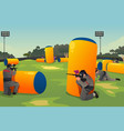 people playing paintball vector image vector image