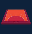 perspective view half field for handball orange vector image vector image