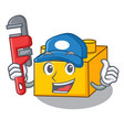 plumber plastic building tyos shaped on mascot vector image