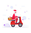 santa claus with gift present boxes riding vintage vector image