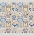 seamless pattern with cute animal heads endless vector image vector image