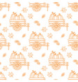 seamless pattern with outline pumpkin cart and vector image vector image