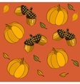 Seamless pattern with pumpkins leaves and acorns vector image vector image