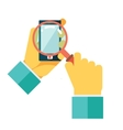 Search Hands Mobile Phone Magnifying Glass vector image
