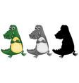 set crocodile character vector image