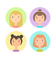 set four girls faces vector image