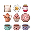 set kawaii style food isolated icon design vector image