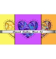 Set of hearts cards with peacock feathers ornament vector image vector image