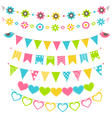 Set of multicolored flat buntings garlands flags vector image vector image