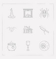 set of witch icons line style symbols with eyeball vector image