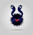 sick funny fluffy monster cute black monster or vector image vector image