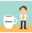 Sleepy businessman manager Friday coffee cup mug