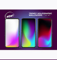 trendy holographic wallpaper collection colorful vector image vector image