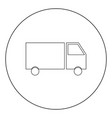 truck icon black color in circle or round vector image vector image
