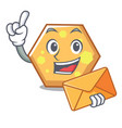 with envelope hexagon character cartoon style vector image