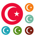 islamic crescent moon icons circle set vector image