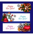 New Year banners with pine tree gift and snowman vector image