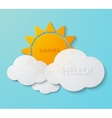 modern sun with clouds background vector image