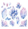 watercolor pastel colored crystals vector image