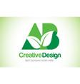 ab green leaf letter design logo eco bio leaf vector image vector image