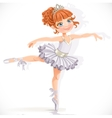 Beautiful little ballerina girl in white dress vector image vector image