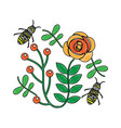 bees flying over some flowers branch leaves vector image vector image
