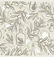 beige seamless patterns with olive plant vector image