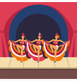 cabaret girls dancing cancan on stage vector image vector image