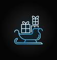 christmas santa sleigh blue line icon vector image