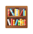 colorful books on wooden shelf bookshelf icon vector image