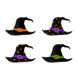 colorful witch and wizards hats with belt vector image vector image