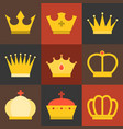 crown flat design set 2 vector image vector image