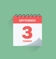 day calendar with date september 3 vector image vector image