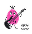 easter egg playing electric guitar funny vector image