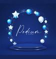 elenagt 3d circle blue podium with foliage vector image vector image