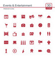 events and entertainment red icons set vector image
