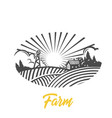 farm logo black and white vector image vector image