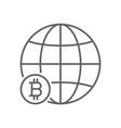 global bitcoin world thin line symbol icon design vector image vector image