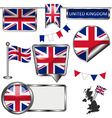 Glossy icons with United Kingdom flag vector image vector image
