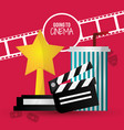going to cinema film clapper strip award soda with vector image vector image