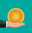 golden coin with computer chip in hand vector image vector image