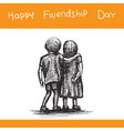greeting card for happy friendship day boy hugged vector image vector image