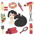 hair care network set portrait of beautiful vector image