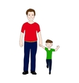 Happy dad holding baby son by the hand vector image vector image